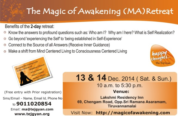 Attend 'The Magic of Awakening Retreat' in Tiruvannamalai